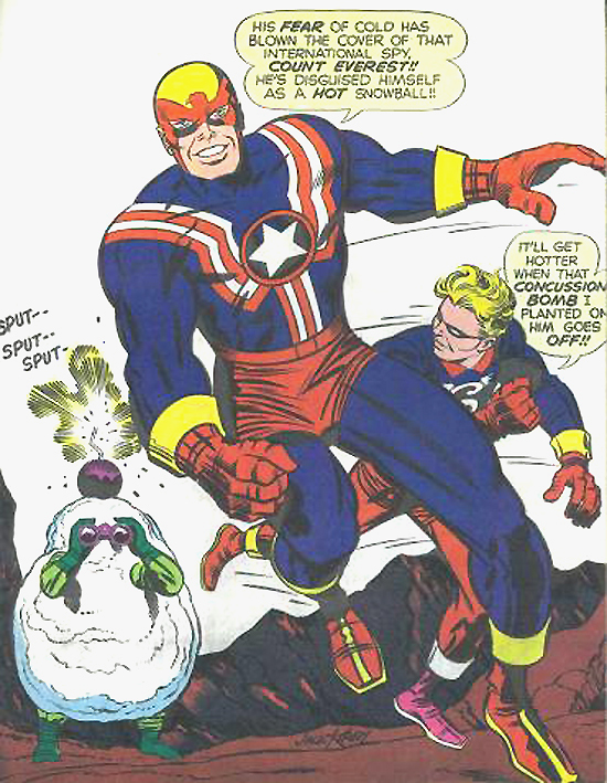 Un dessin inédit de Fighting American encré par Joe Sinnott.