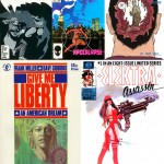 Batman n° 407, Daredevil n° 227, Hard Boiled 3, Give Me Liberty 1 et Elektra Assassin n° 1.