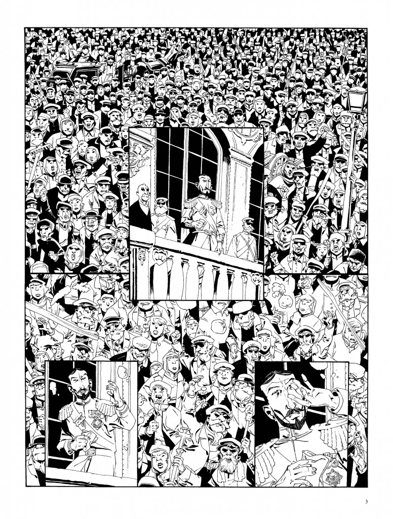 Encrage de la 1ère planche (page 3) de Mort au Tsar (Dargaud, 2014)
