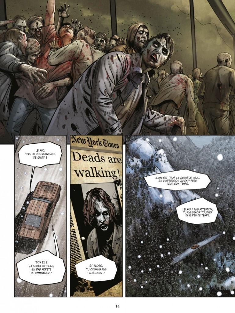 Une actualité morbide et des protagonistes encore insouciants... (page 14 de l'album ; Vents d'Ouest, 2014)