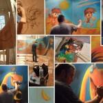 Olivier Supiot a participé l'an dernier à l'exposition « Des images et des mots — 100 planches pour 100 ans de BD européenne » à la collégiale Saint-Martin d'Angers. Il réalisa dans ce cadre une fresque peinte sur bois à l'acrylique. À la fin de l'exposition, cette fresque fut offerte au service pédiatrique du CHU d'Angers. © Vanessa Bataille