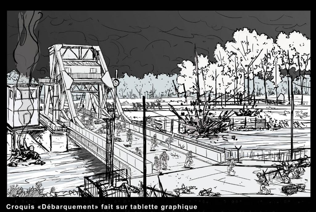 Croquis sur tablette graphique pour la représentation de la prise de Pegasus Bridge (Pont de Bénouville), au matin du 6 juin 1944