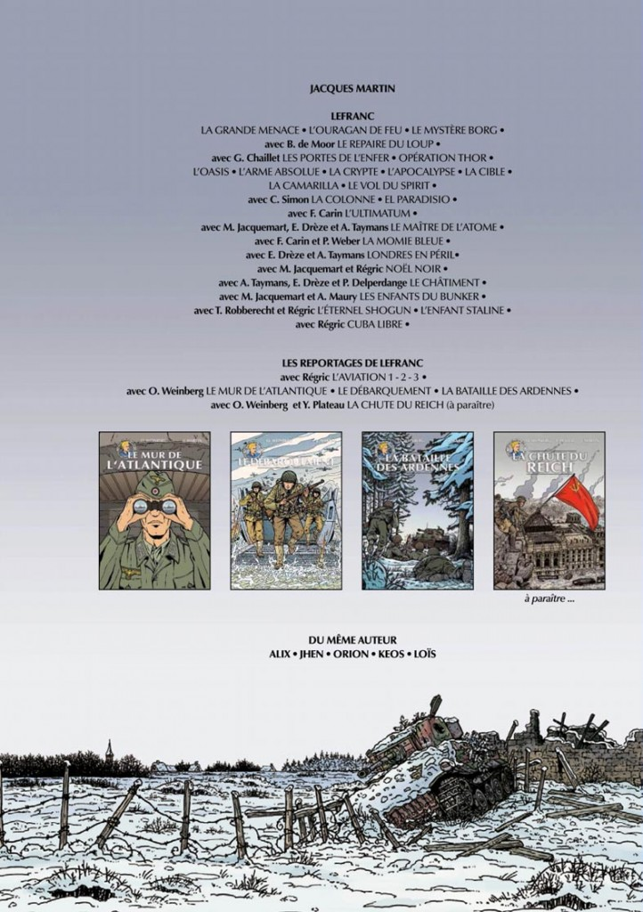 4ème de couverture pour La Bataille des Ardennes (Casterman, 2014)