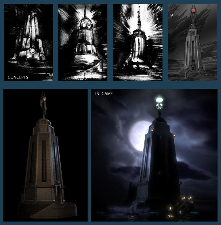 """Dessins conceptuels et rendu final du """"Bioshock lighthouse"""" : le début de l'aventure de """"Bioshock Infinite"""" (2013)"""