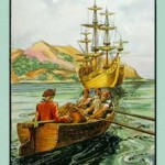 L'une des illustrations pour « L'Île au trésor » de la Bibliothèque du chocolat Aiglon.