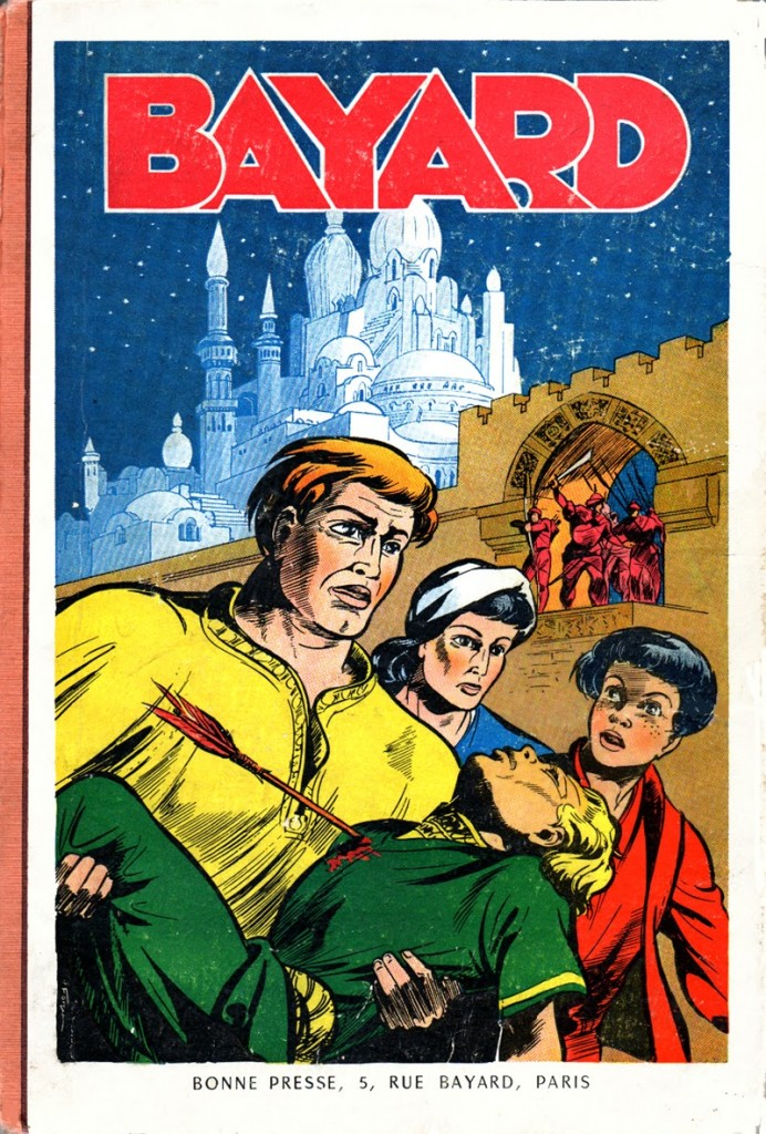 Une reliure de Bayard (1954) dont la couverture est une image de Pierre Forget.