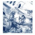 Illustration pour « Le Lafon aux requins », une aventure de Bob Morane  publiée chez Nautilus en 2000.