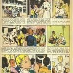 Une bande dessinée avec textes sous l'image due à René Follet dans Caravane, en 1962.