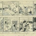 « L'Eau de feu », sa première bande dessinée, signée du pseudonyme Wapiti dans Plein-Jeu, en 1946.