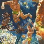 Illustration pour « Le Récif de corail » de Robert Ballantyne, aux éditions Casterman (1955).