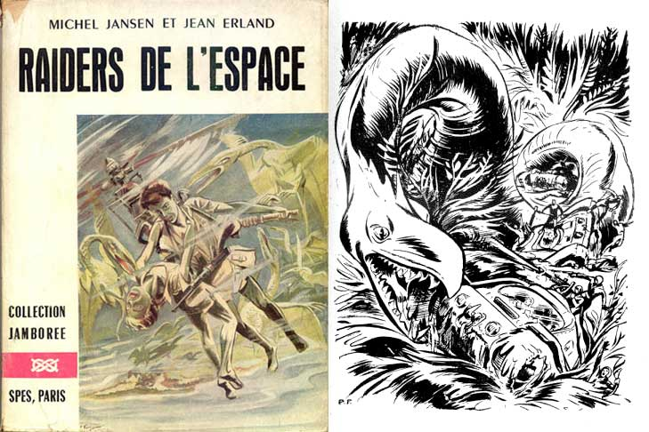 Couverture et une illustration de Pierre Forget pour un roman de science-fiction de la collection Jamboree, en 1955.