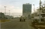Vue de la Sniper Alley à Sarajevo, en décembre 1995