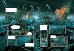 Une impressionnante ambiance maritime, mise en couleurs par Dimitri Fogolin (pages 30 et 31 du tome 2)