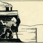 Case extraite de Tintin en Amérique (1932 : encre de Chine et gouache sur papier à dessin)