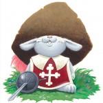 Eusèbe, un lapin qui n'a pas la grosse tête ! PLV (publicité sur le lieu de vente) mise en place par l'éditeur et les libraires à l'occasion de la la parution de cet album