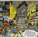 Dessin paru dans Spirou n°3073 le 5 mars 1997, dans une série d'hommages sous le titre générique de « Merci, M. Franquin ». Ce magnifique décor sera intégré au fil du récit du tome 5 (planche 35) en 1997.