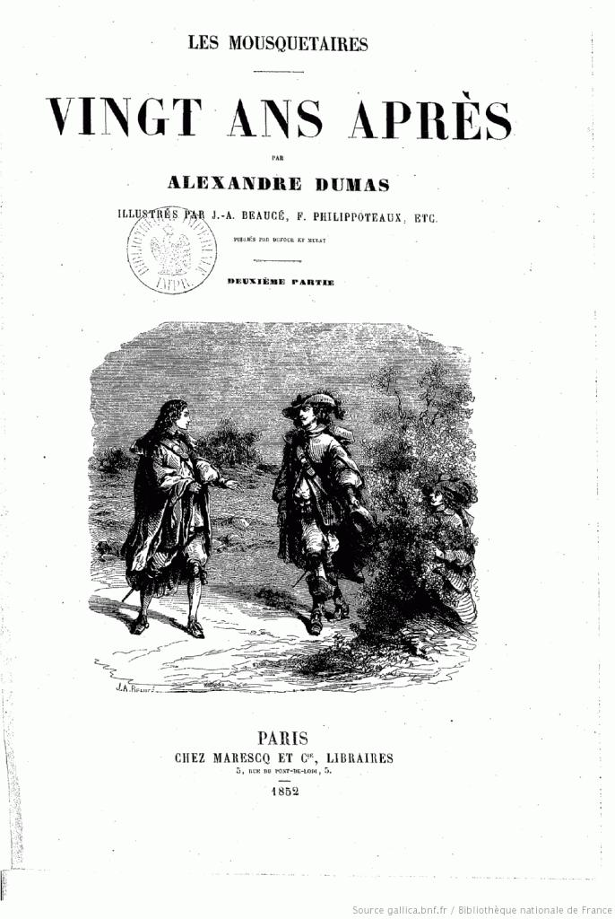 """Illustration de J.-A. Beaucé pour le roman """"Vingt ans après"""" (édition de 1852)"""