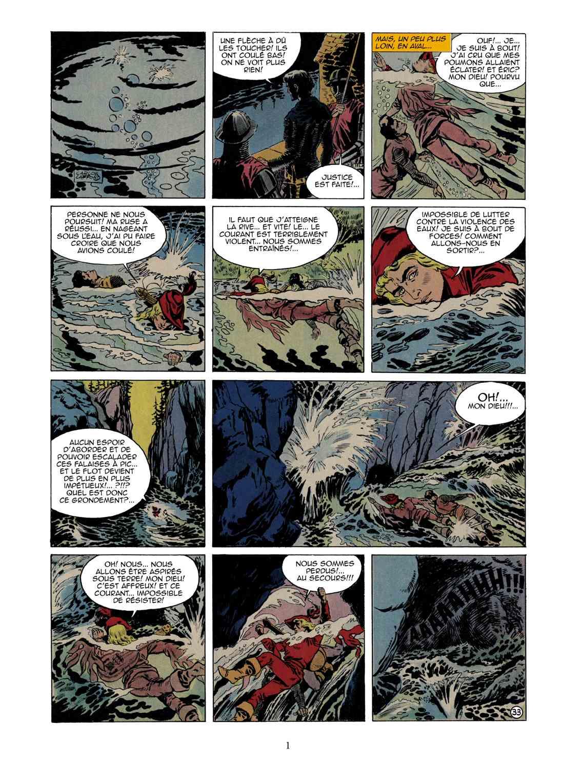 Une page restaurée du premier tome d e« Thierry le chevalier » dessiné par l'Espagnol Carlos Laffond.