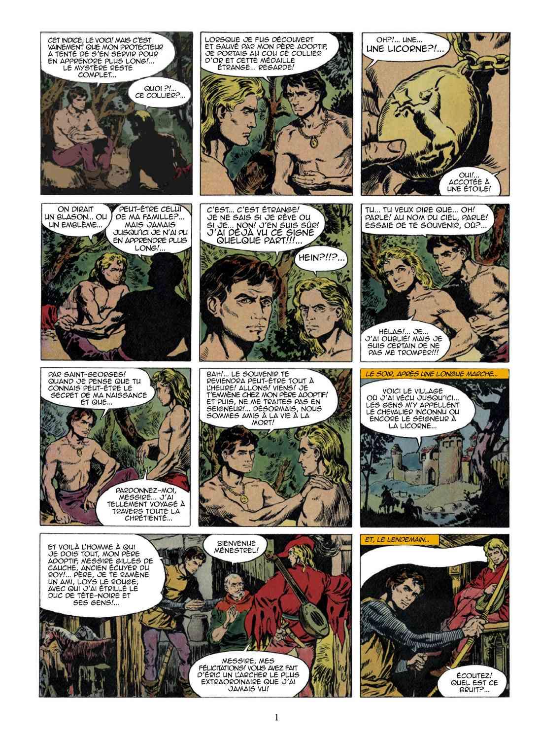 Une autre page restaurée du premier tome de « Thierry le chevalier ».
