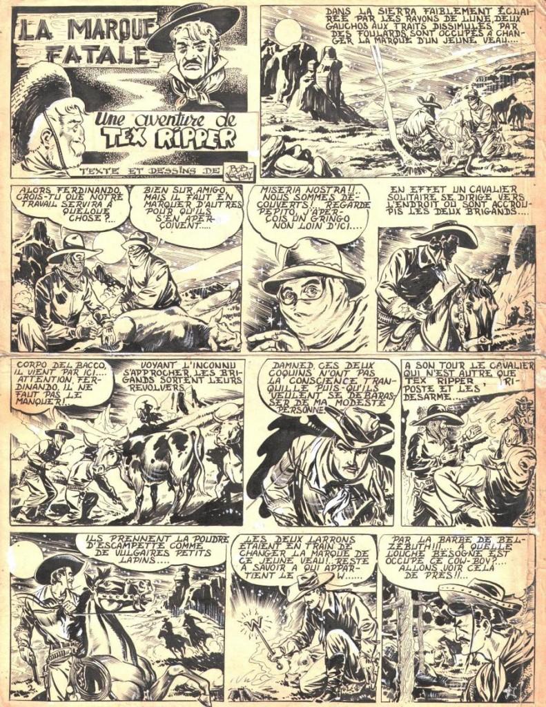 Une planche originale de Bob Leguay pour une aventure de Tex Ripper : « La Marque fatale ».