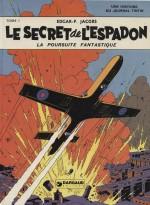 Un envol redessiné par Jacobs pour la couverture du tome 1 du Secret de l'Espadon, paru en janvier 1950 au Lombard.