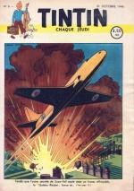 En couverture de Tintin (n°6 du 31 oct. 1946) : le Golden Rocket s'élance...