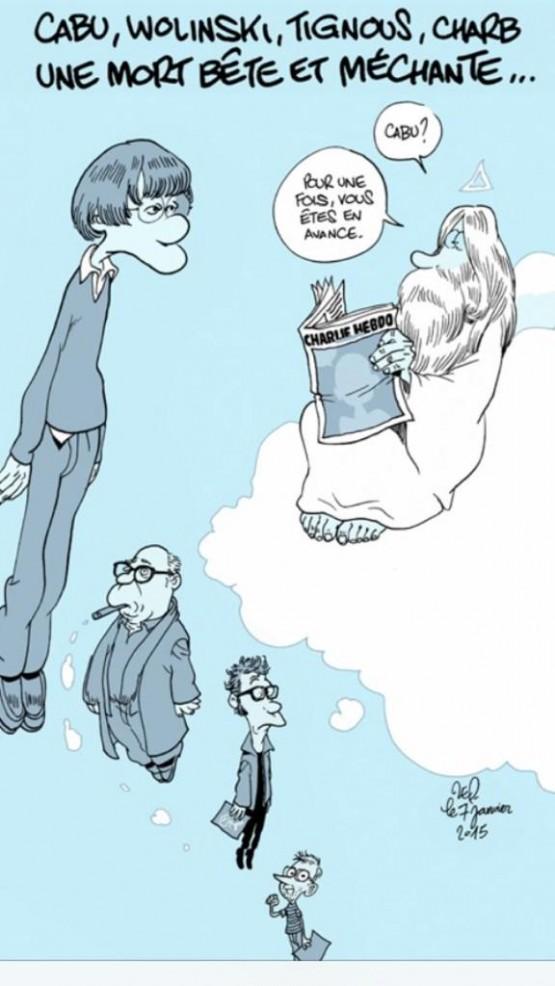 Hommage de Zep à Cabu, Wolinski, Tignous, Charb ... disparu trop tôt.