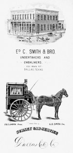 """Corbillard """"cab"""" à deux roues à Dallas, en 1889"""