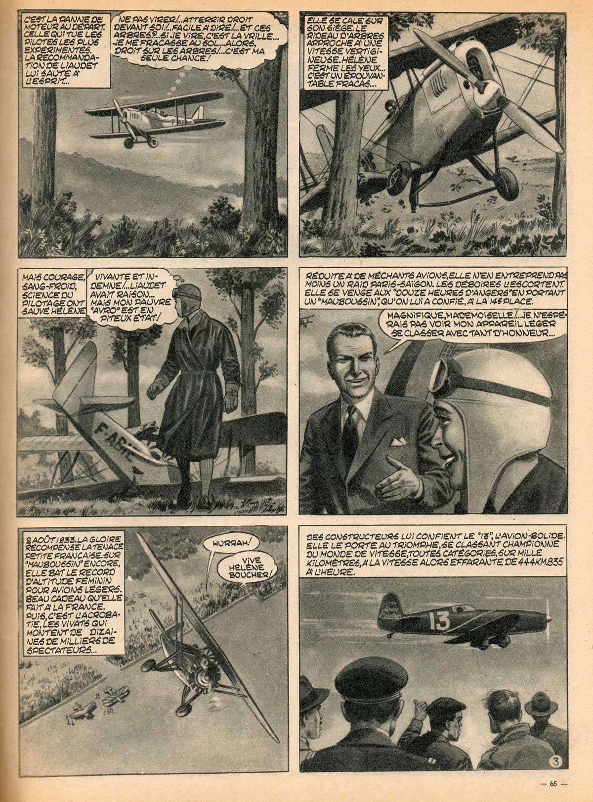 Planche 3 d'« Hélène Boucher » (dessins de Victor Hubinon).