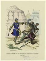 Sergent d'armes du roi des ribauds arrêtant un pillard (1290 à 1330). Gravure de L.-J. Deghouy (1882-1884).