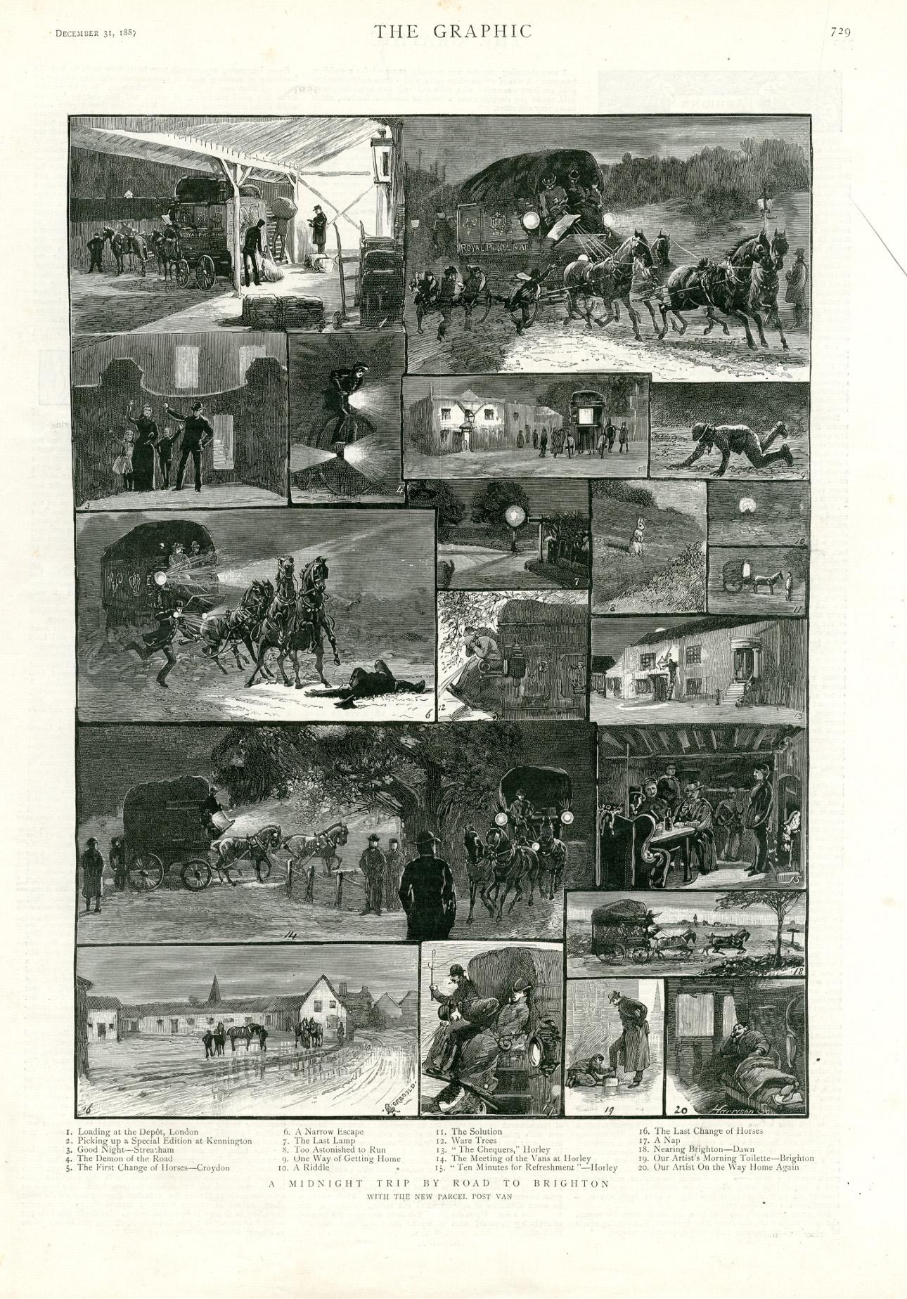 « Un voyage de nuit vers Brighton, par la nouvelle malle postale », reportage graphique par A.C. Corbould. Gravure sur bois. The Graphic (31 décembre 1887)