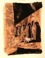 Encre de Chine et gouache blanche sur papier ocre pour une illustration de Chaboute en hommage à Hergé (2012)