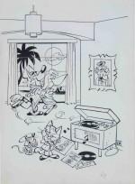 Original d'un dessin de Macherot avec Chaminou pour un album à colorier des années 1960.