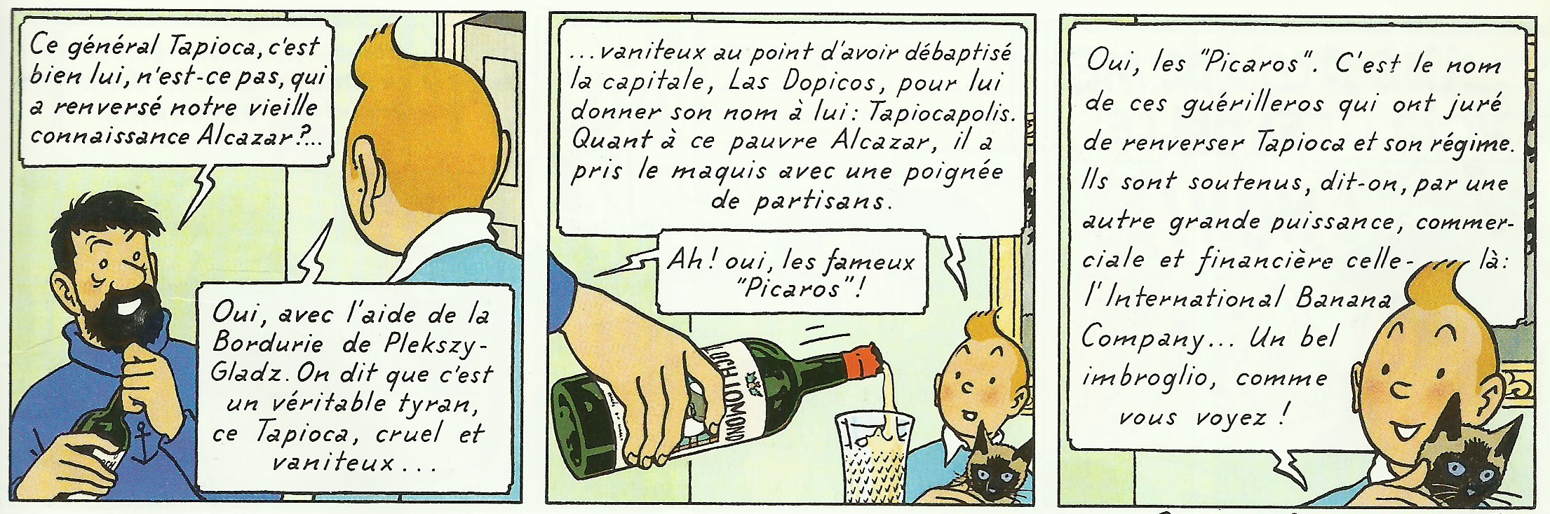 Extrait de la page 1 de « Tintin et les Picaros ».