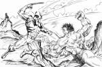 Un dessin d'Herb Trimpe avec Wolverine et Hulk.