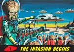 "La peur de l'invasion : carte à collectionner ""Mars Attacks"" n°1 (Topps, 1962)"