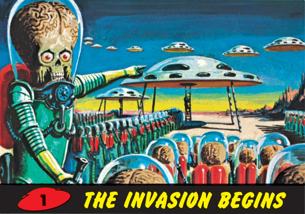 """La peur de l'invasion : carte à collectionner """"Mars Attacks"""" n°1 (Topps, 1962)"""