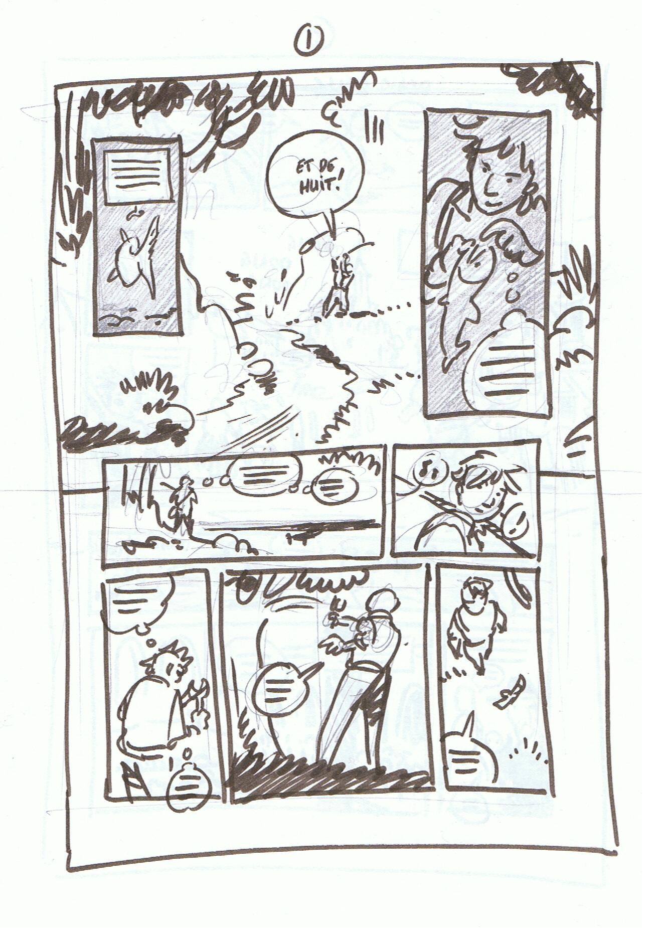 Storyboard, rough, crayonné et mise en couleurs de la lanche 1