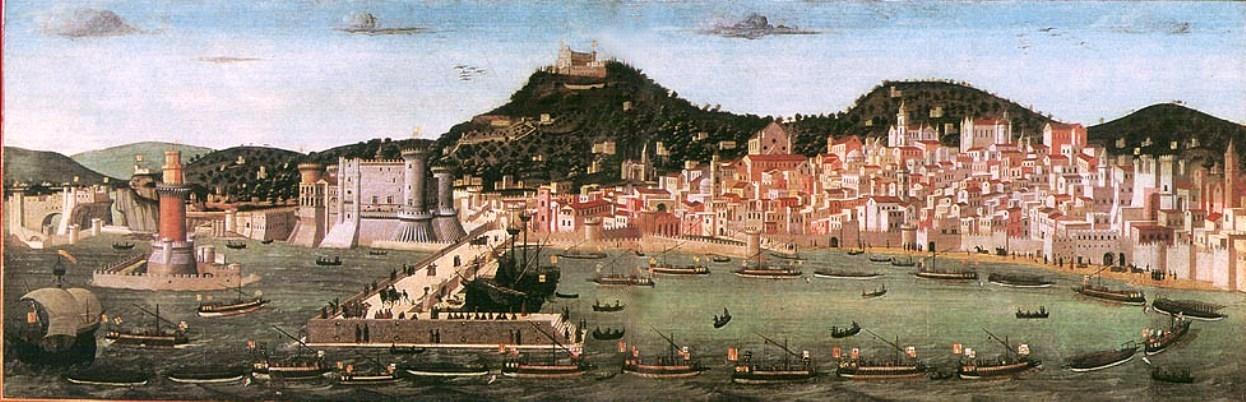 Vue de Naples par Tavola Strozzi (1470). Musée San Martino à Naples