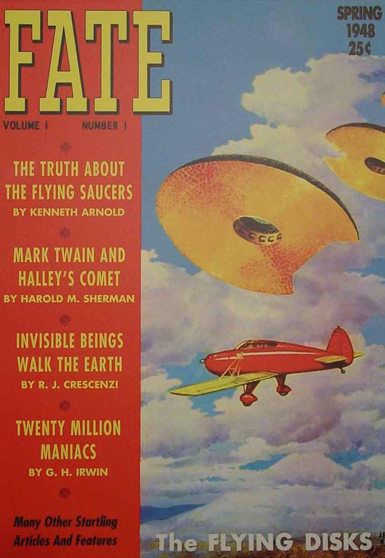 Le témoignage de Kenneth Arnold, illustré au printemps 1948 en première page de Fate, un nouveau magazine dédié aux phénoménes paranormaux.