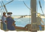 Le sauvetage des derniers survivants, par Sylvain Savoia. Le 29 novembre 1776, l'enseigne de vaisseau de Tromelin, à bord de la Dauphine, supervise l'embarquement des sept rescapées et du bébé.