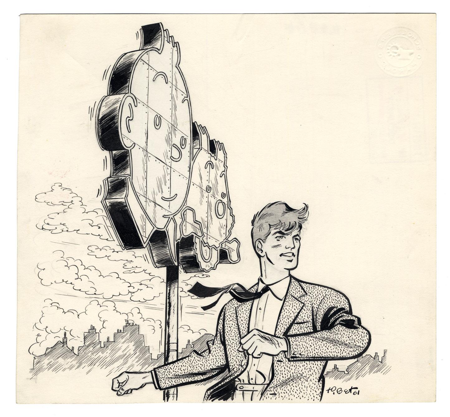 Encre de Chine par Tibet (daté de 1961), représentant le héros sur le toit de l'immeuble du Lombard,  avec sa célèbre enseigne Tintin et Milou.