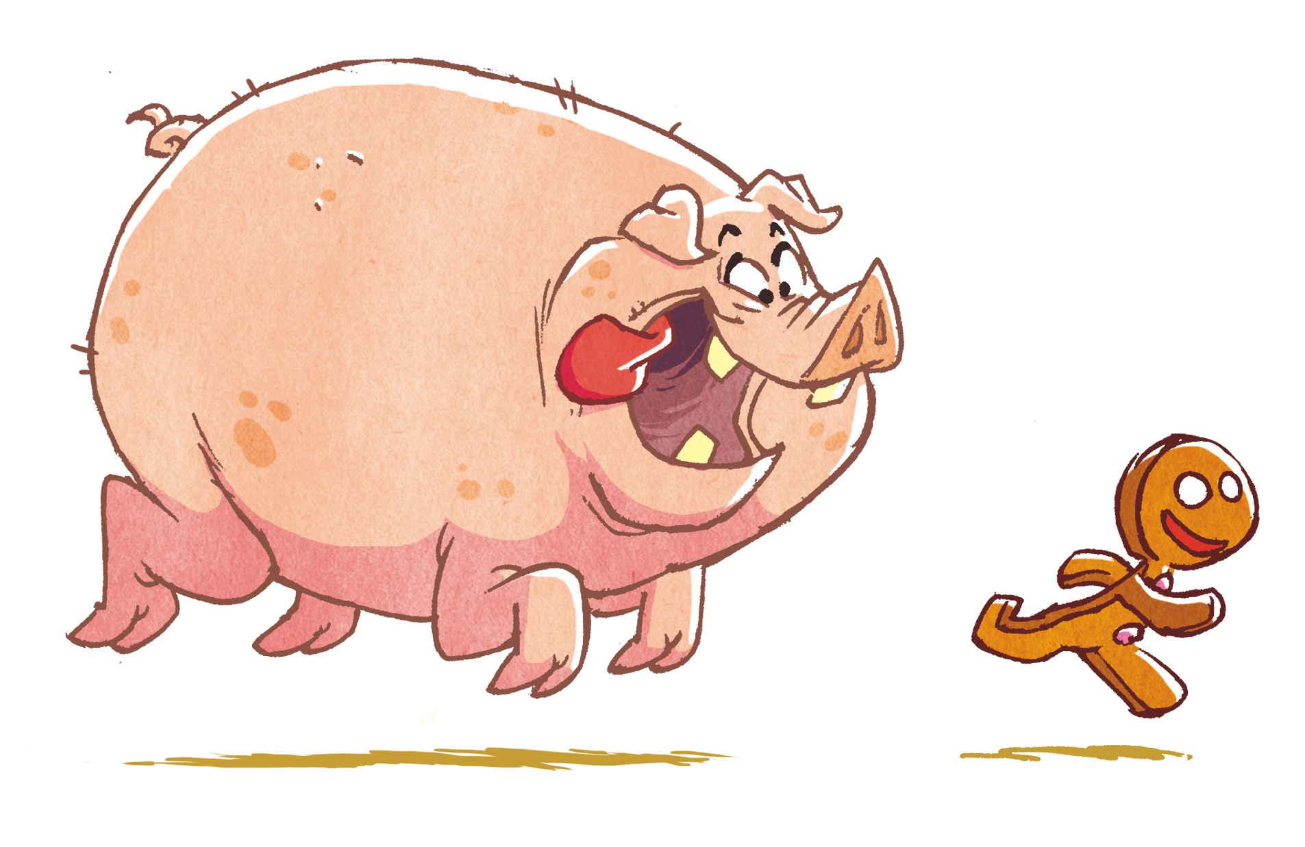 Le Bonhomme en pain d'épice avec le cochon