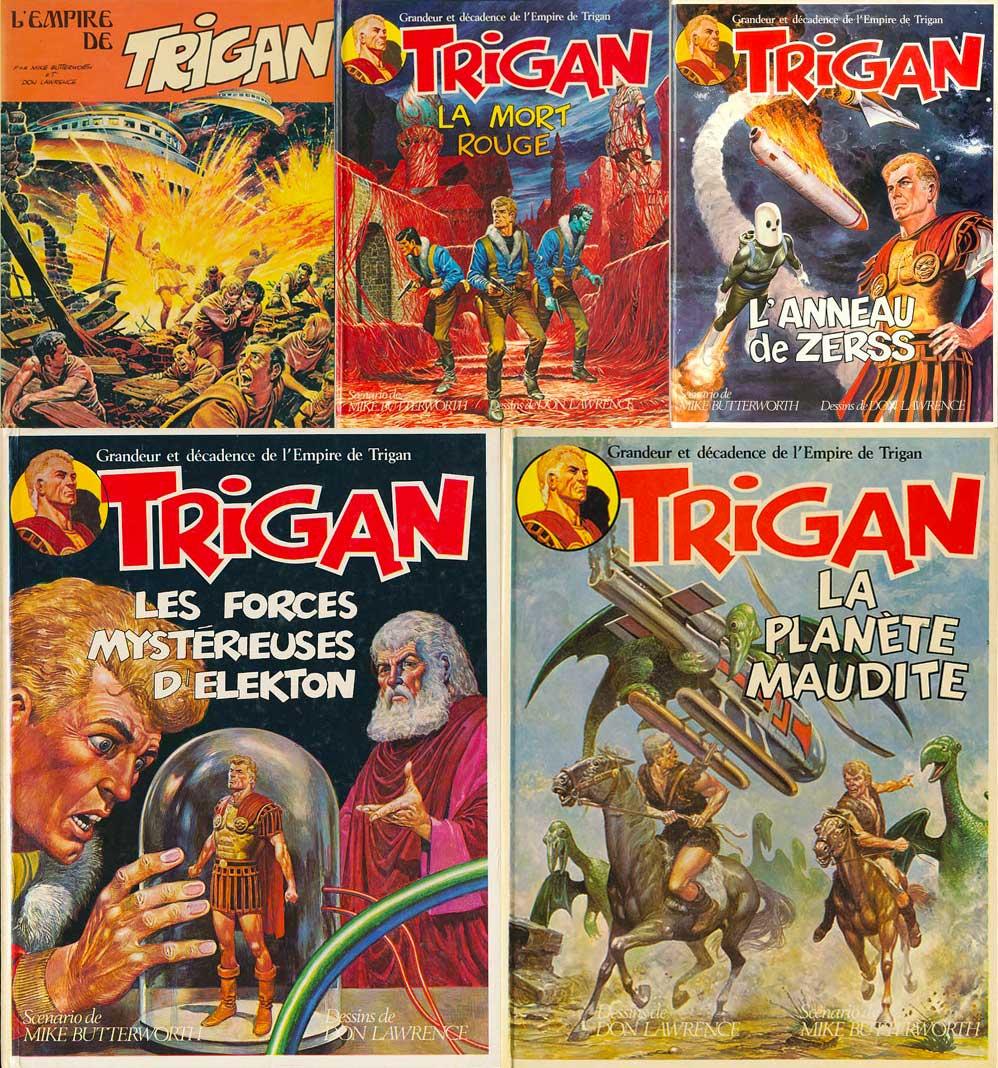 Les 5 albums de « L'Empire de Trigan » chez Septimus, publiés entre 1976 et 1979..