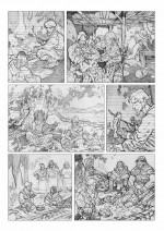 Crayonné et lettrage de la planche 37 (Akileos, 2015)