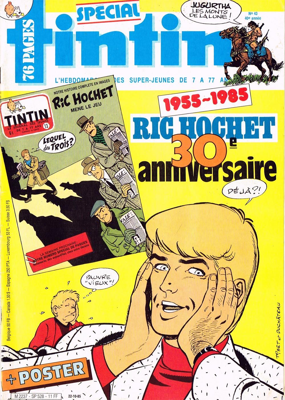 Couverture anniversaire des 30 ans pour un Tintin Spécial en 1985