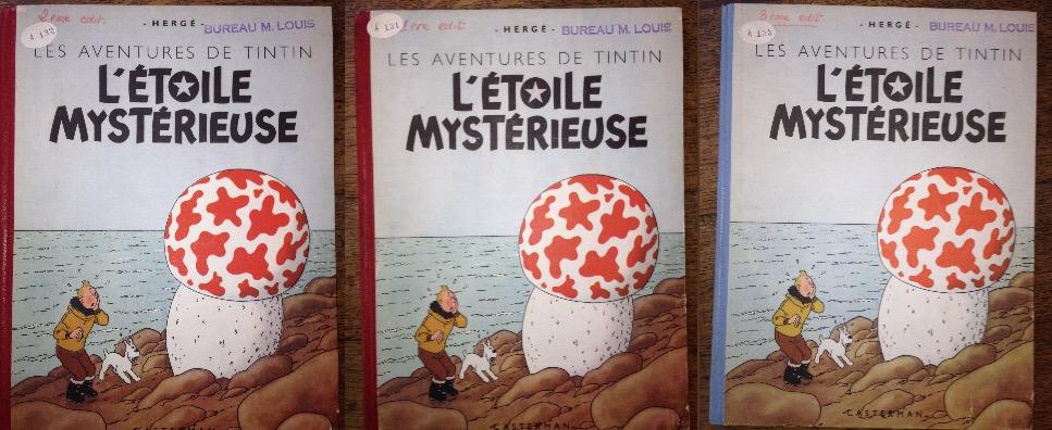 Les 3 exemplaires de M. Louis Casterman, référencés dans les archives Casterman comme les 1re, 2e et 3e éditions. Ces exemplaires uniques conservés dans son bureau (« bureau de M. Louis ») servaient de référence pour l'éditeur.