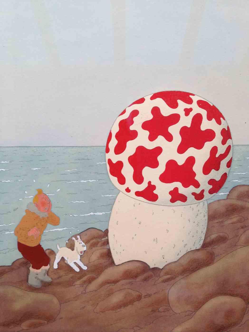 La gouache de mise en couleur fut réalisée par Hergé selon les techniques qui lui étaient familières (gouache, crayon, encre) en même temps que les gouaches des 8 grandes images, en juin 1942.