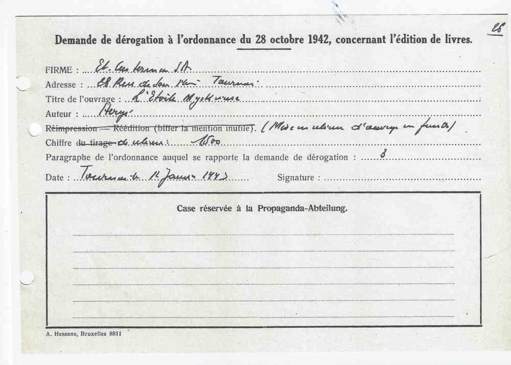 Autorisation pour un petit tirage de 1500 exemplaires le 12 janvier 1943 (re cartonnage A18).