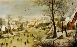 Paysage d'hiver avec patineurs et trappe aux oiseaux (1565)